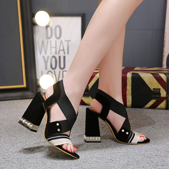 Elegant Cross Strap Thick High Heeled Sandals -Black image