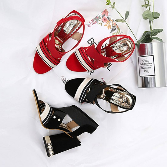 Elegant Cross Strap Thick High Heeled Sandals - Red image