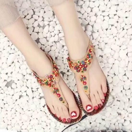 Slip On Bohemian Beaded Flat Women Sandals - Brown image