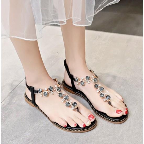 T-Strap Rhinestone Flat Bottom Women Sandals - Black image