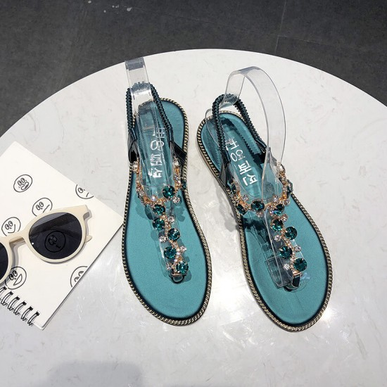 T Strap Rhinestone Flat Bottom Women Sandals - Green image