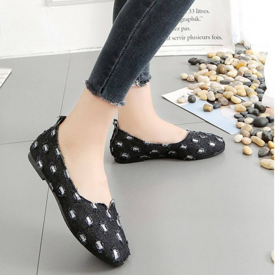Women's Slip On Pointed Casual Denim Flats - Black image