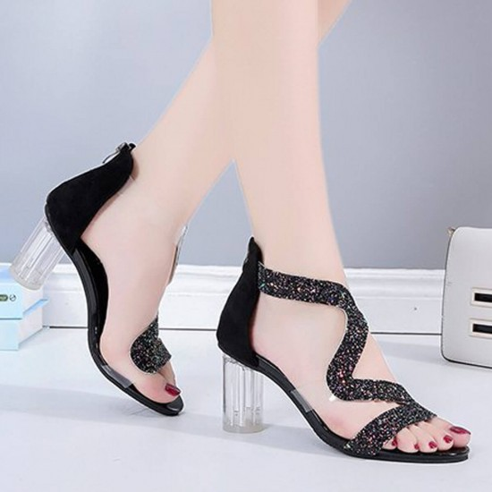 Open Toe Crystal Transparent High Heel Sandals - Black image