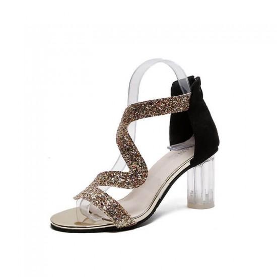 Open Toe Crystal Transparent High Heel Sandals - Gold image