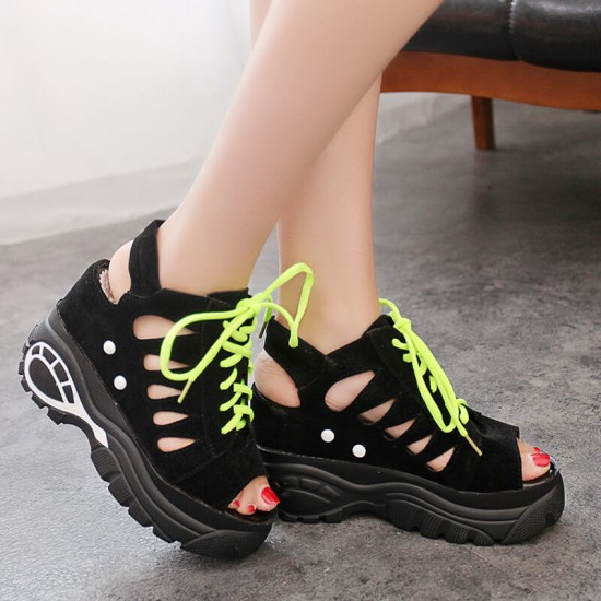 Hidden Wedge Hollow Out Sport Chic Sandals - Black image