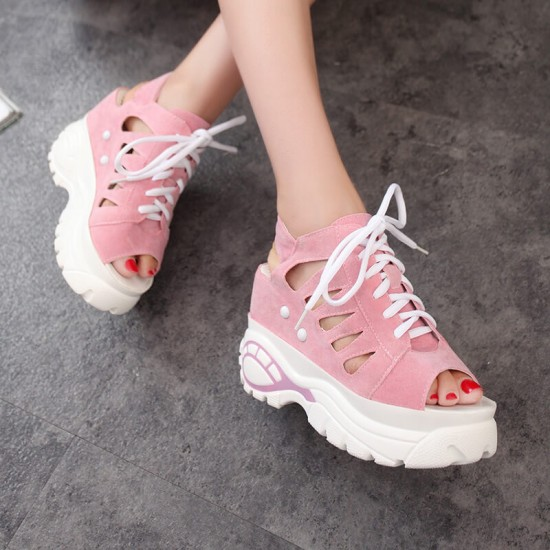 Hidden Wedge Hollow Out Sport Chic Sandals - Pink image