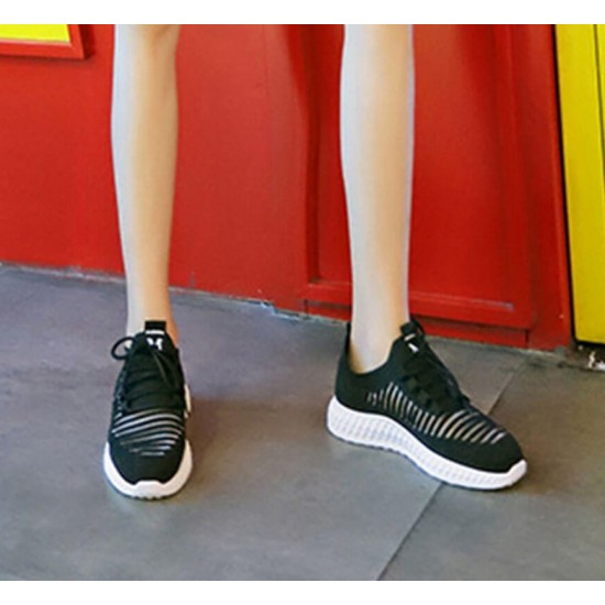 Breathable Air Mesh Black Knitted Sneakers Shoes - Black image