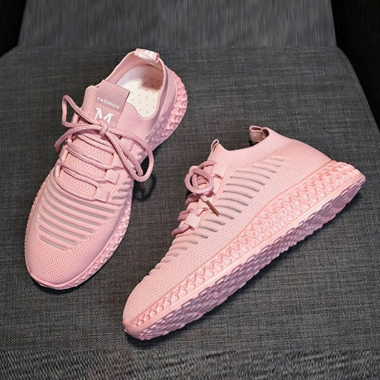 Breathable Air Mesh Pink Knitted Sneakers Shoes - Pink image
