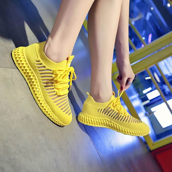 Breathable Air Mesh Yellow Knitted Sneakers Shoes - Yellow image