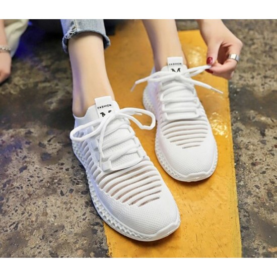Breathable Air Mesh White Knitted Sneakers Shoes - White image