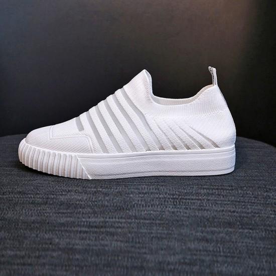 Mesh Breathable Strips Pattern Walking Sneakers - White image