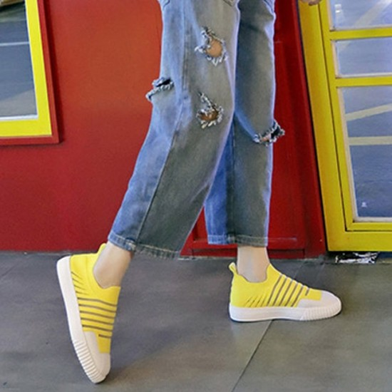 Mesh Breathable Strips Pattern Walking Sneakers - Yellow image