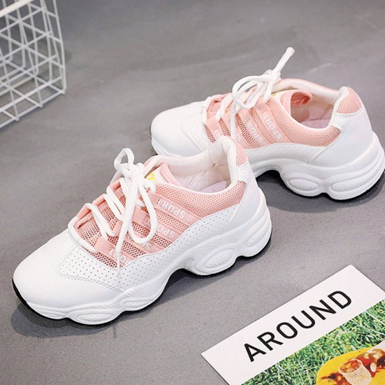Mesh Breathable Pink Contrast Sports Women Shoes - Pink image