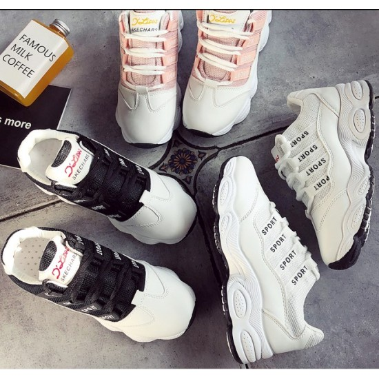 Mesh Breathable White Contrast Sports Women Shoes - White image