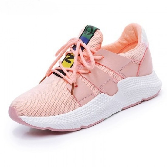 Canvas Breathable Lace Up Fitness Sports Shoes - Pink image