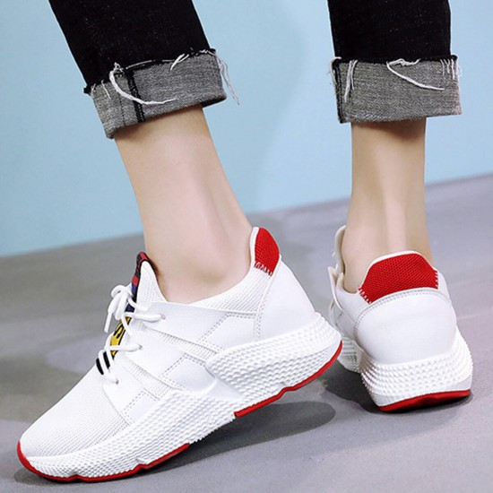 Canvas Breathable Lace Up Fitness Sports Shoes - White image