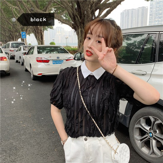Doll Collar Lapel Design Short Sleeve Blouse -Black image
