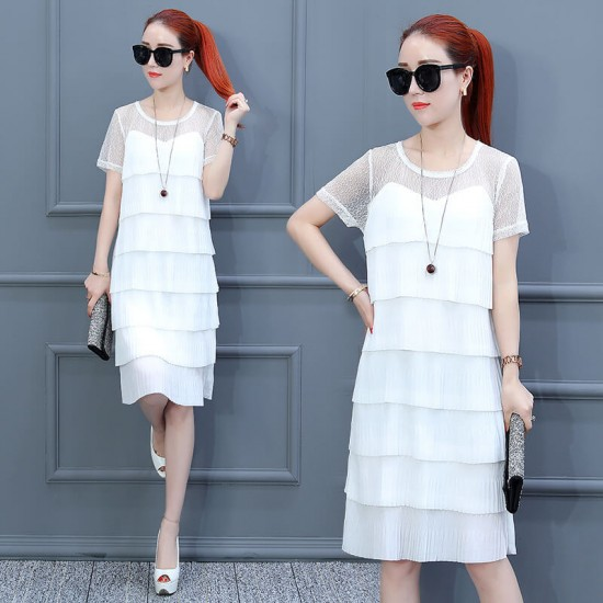 Fairy Short Sleeve Ruffled Tiered Midi Dress - White image