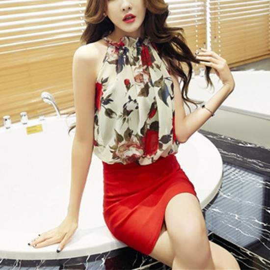 Floral Prints Sleeveless Hanging Neck Blouse - White image