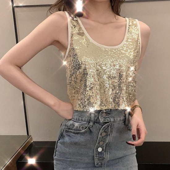 Round Neck Sequins Sparkle Cocktail Party Tops - Gold image