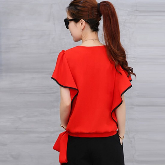 Ruffle Sleeve Wide Pants Top Two Piece Jumpsuit - Red image
