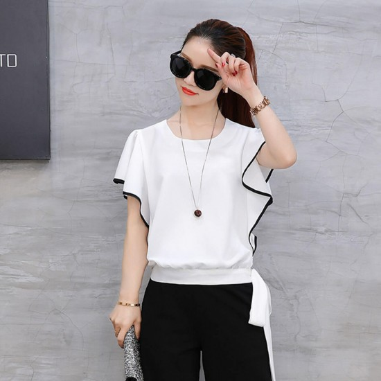 Ruffle Sleeve Wide Pants Top Two Piece Jumpsuit - White image