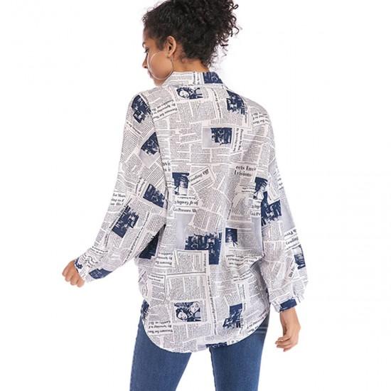 Lapel Neck Newspaper Printed Long Sleeve Loose Shirt - Blue image