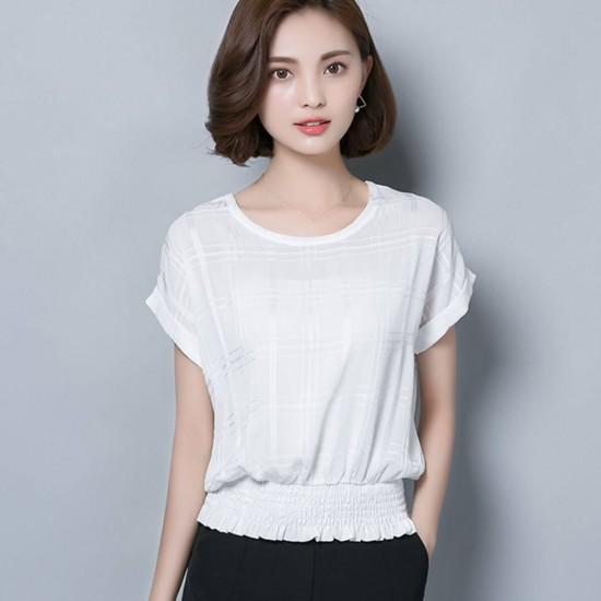 Check Textured Half Sleeve Chiffon Ladies Shirt - White image