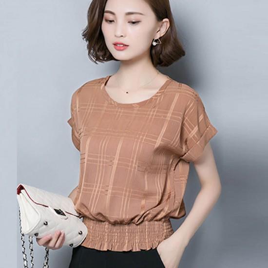 Check Textured Half Sleeve Chiffon Ladies Shirt - Brown image