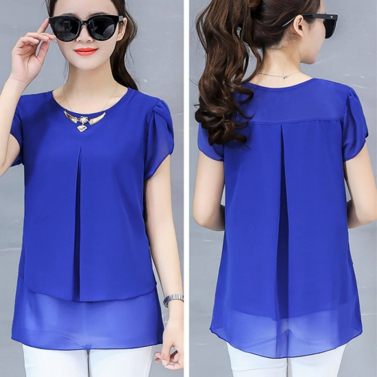 Double Layer Casual Short Sleeved Chiffon Shirt - Blue image