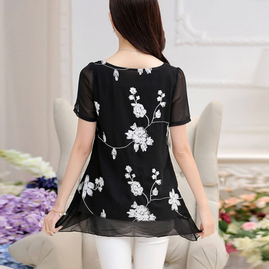 Floral Embroidered Double Layer Chiffon Shirt - Black image