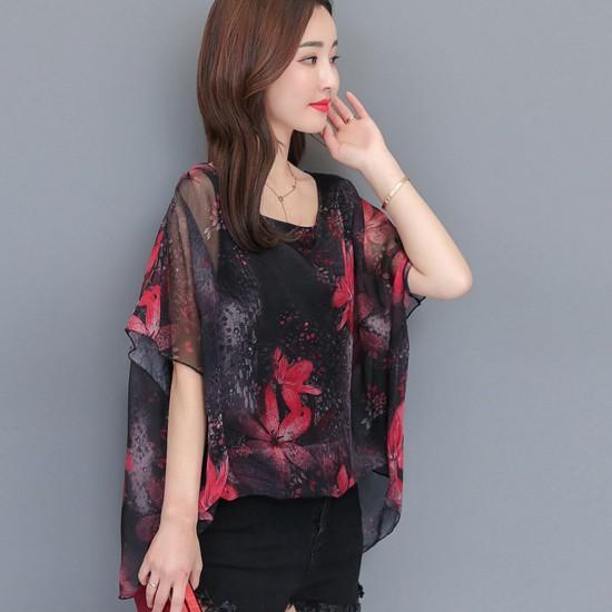 Short Sleeved Floral Printed Fairy Chiffon Shirt - Black image