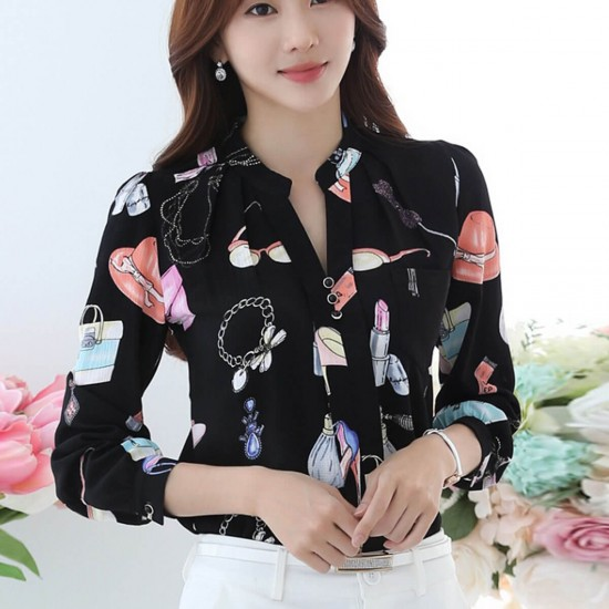Long Sleeved Printing Design Chiffon Lady Tops - Black image