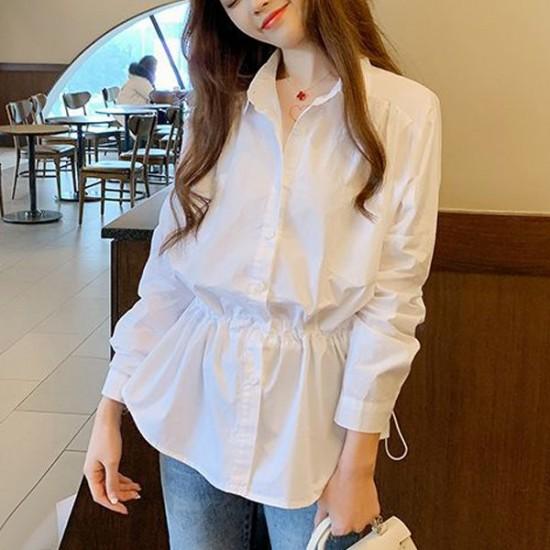 Long Sleeve Fairy High Elastic Waist Collar Shirt - White image