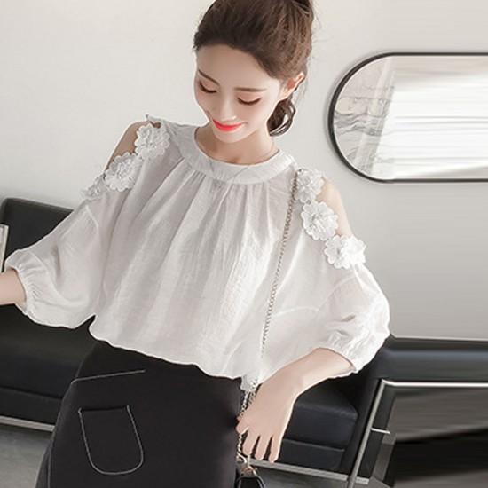 Floral Sleeve Elegent Off Shoulder LadIes Shirt - White image