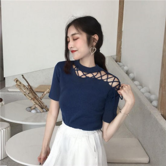 Irregular Criss Cross Patchwork Lady Blouse - Blue image