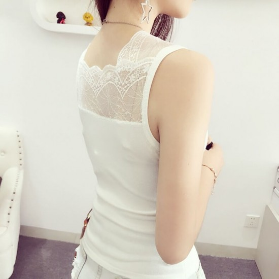 Slim Fit Solid Color V Neck Lace Stitching Shirt - White image