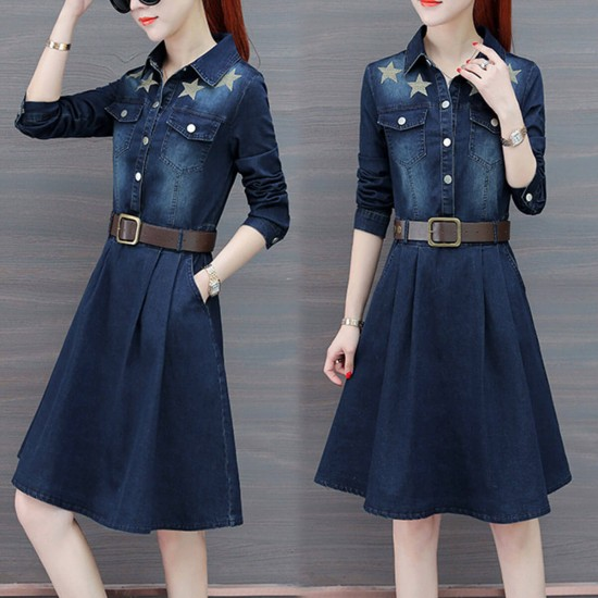 Star Patched Long Sleeve Denim Midi Dress - Dark Blue image
