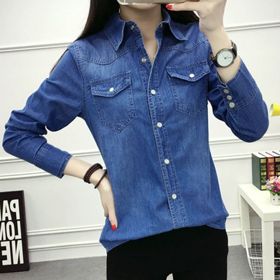 New Denim Dual Pocket Long Sleeve Shirt - Dark Blue image