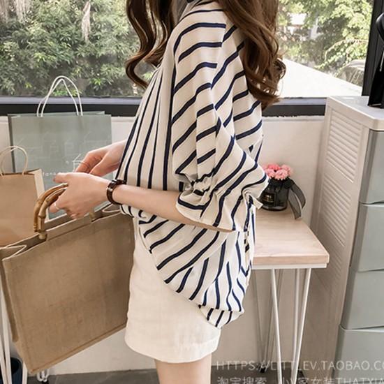 Regular Fit Striped Short Sleeve Collar Blouse - Black image