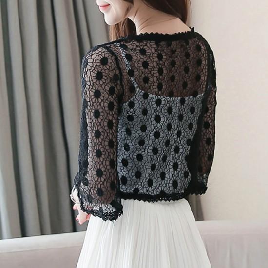 Flounce Floral Lace Short Sleeve Mini Cardigan Shrug - Black image