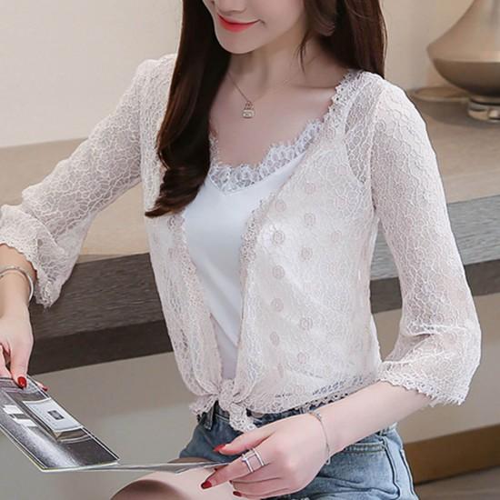 Flounce Floral Lace Short Sleeve Mini Cardigan Shrug - White image