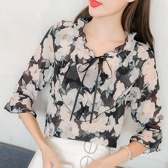 Floral Printed Chiffon Ruffled Neck Sleeved Shirt - Black image