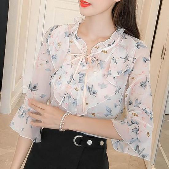 Floral Printed Chiffon Ruffled Neck Sleeved Shirt - White image
