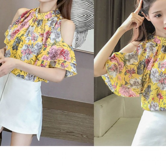 Floral Print Off Shoulder Casual Chiffon Blouse - Yellow image