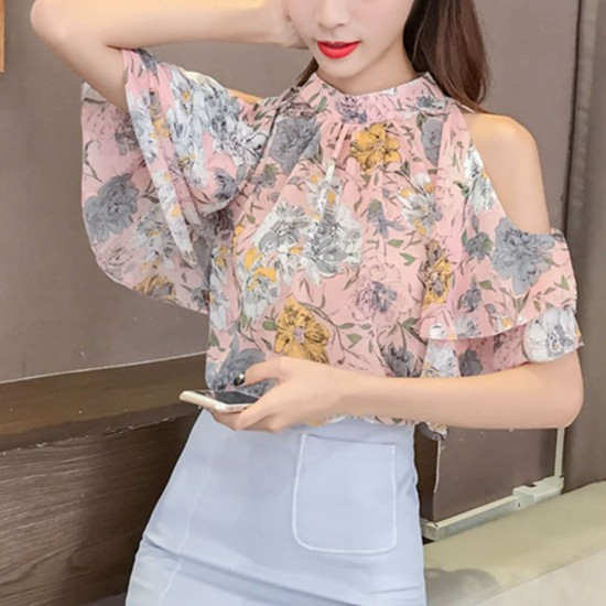 Floral Print Off Shoulder Casual Chiffon Blouse - Pink image