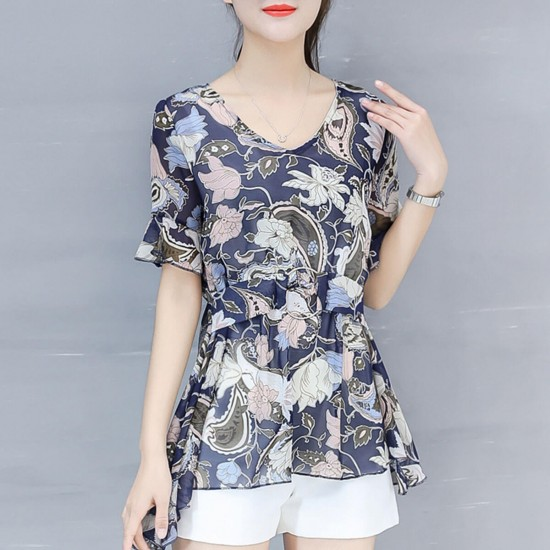 Elegant Short Sleeve Floral Print Buckle Waist Shirt - Blue image