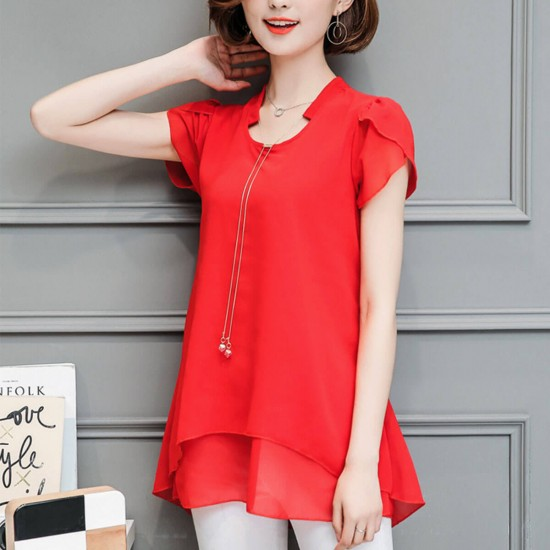 Butterfly Sleeves Casual Chiffon Blouse Shirt - Red image