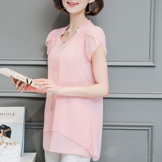 Butterfly Sleeves Casual Chiffon Blouse Shirt - Pink image