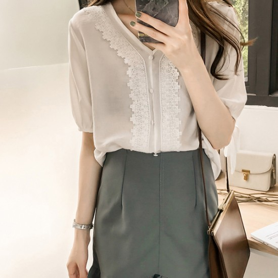V-neck lace design Patched Buttons Up Shirt - White image